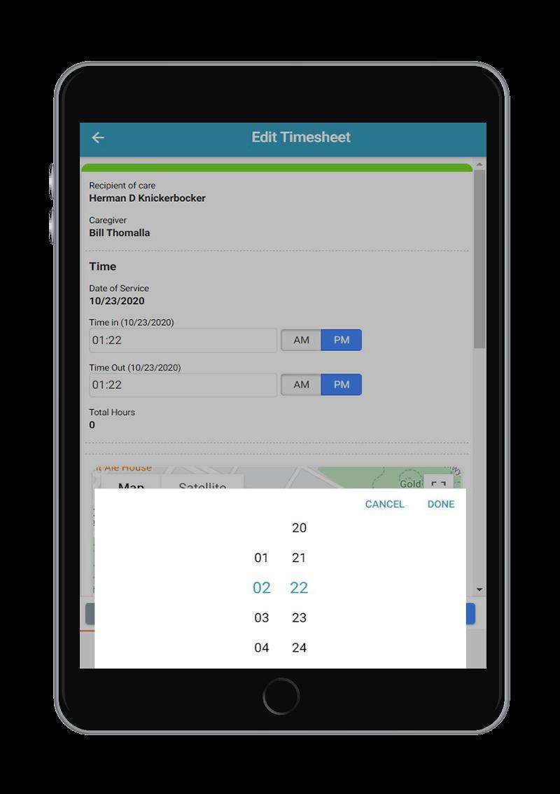ipad app pavillio change time timesheet
